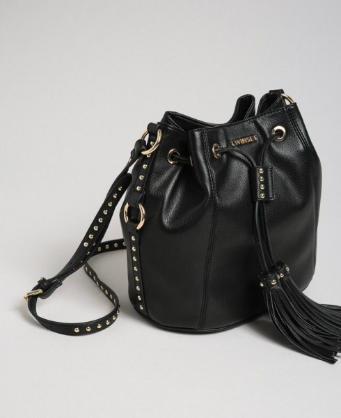 Twinset borsa a secchiello con borchie 192to8163 nero similpelle - dettaglio 1