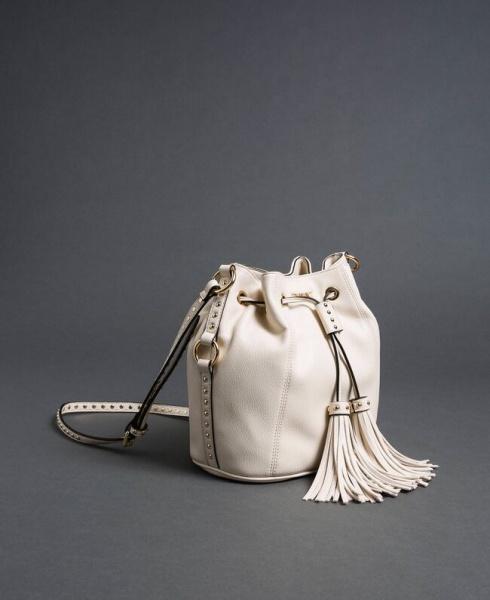 Twinset borsa a secchiello con borchie 192to8163 bianco neve similpelle - dettaglio 1