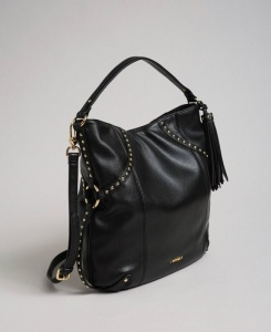 Twinset borsa a spalla hobo con borchie 192to8161 nero similpelle - dettaglio 1