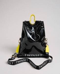 Twinset borsa a mano shopper piccola ripiegabile 192to7174 nero similpelle - dettaglio 1