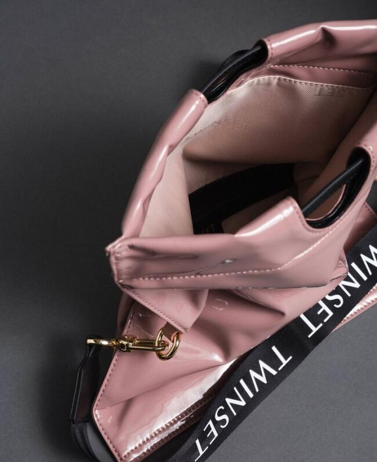 Twinset borsa a mano shopper piccola ripiegabile 192to7174 dusty pink similpelle - dettaglio 5
