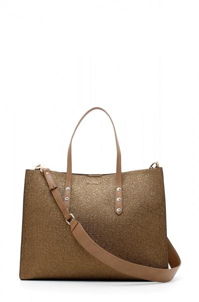 Twinset Shopping bag laminata in oro scuro - DETTAGLIO 1