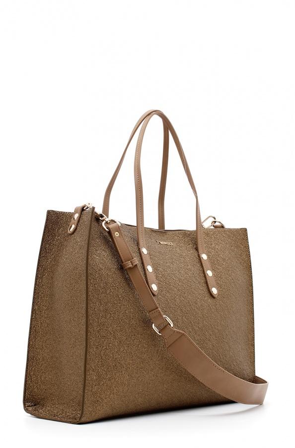 Twinset Shopping bag laminata in oro scuro - DETTAGLIO 2