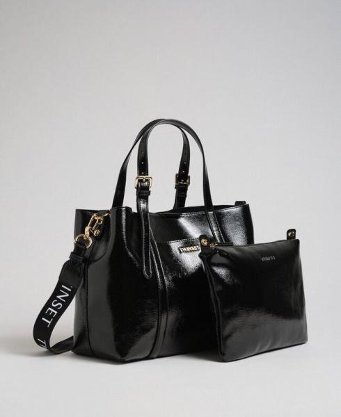 Twinset shopping bag effetto vernice 192to8150 nero similpelle - dettaglio 1