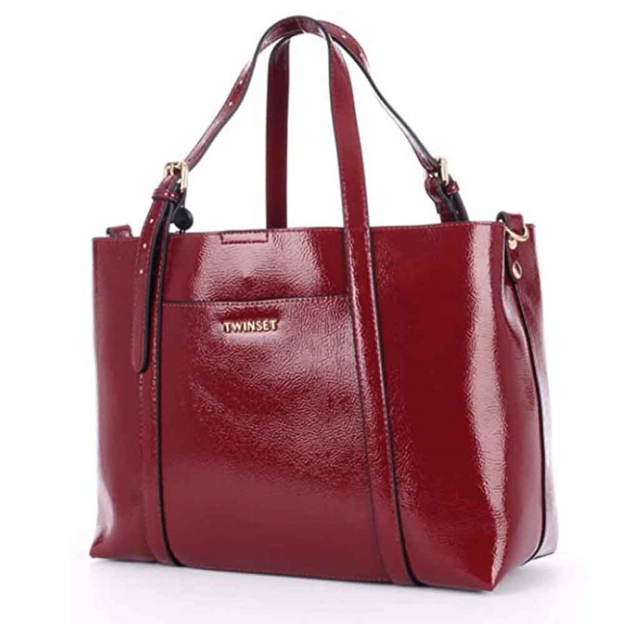 Twinset Shopping bag effetto vernice in similpelle red vevet - 192TO8150